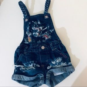 Other - Distressed jeans short overalls